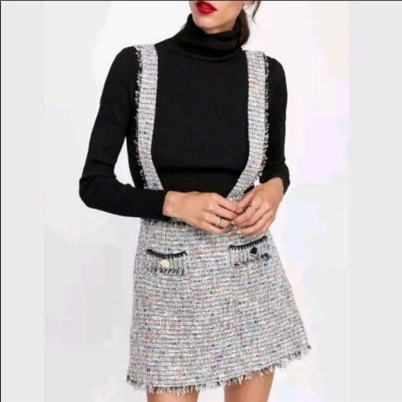 2eab42e6 Zara Skirts   Tweed Skirt With Suspenders   Poshmark